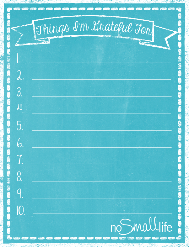 FREE Printable Thankfulness List