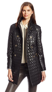 Via Spiga Women's Double Breasted Military Lightweight Quilted Coat