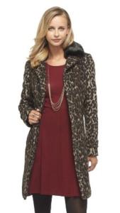 Target Merona Leopard Print Faux Fur Collar Coat