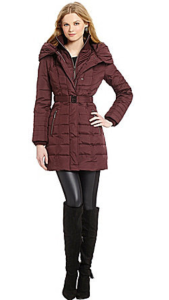 Kensie Belted Pillow-Collar Coat Burgundy