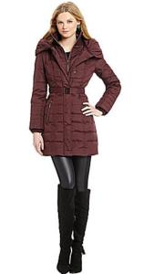 Kensie Belted Pillow-Collar Coat Burgundy