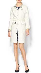 Tinley Road Long Line Funnel Neck White Coat