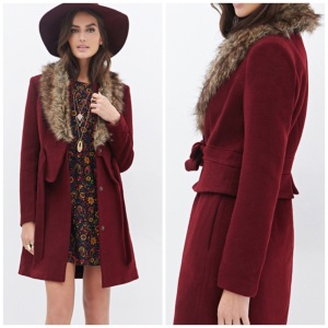 Forever 21 Faux Fur Collar Coat