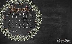 FREE March 2015 Calendar! Use for your Desktop, Phone Wallpaper, Screen Saver or Printable-NoSmalllife