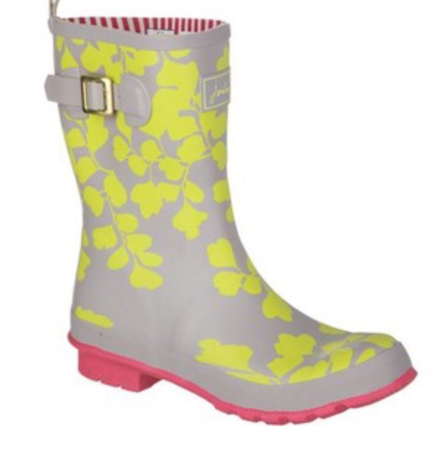 Grey, Yellow, & Pink Floral Wellies