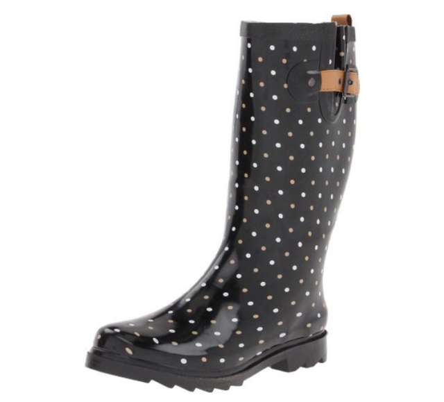 Chooka Black Polka Dot Rain Boots