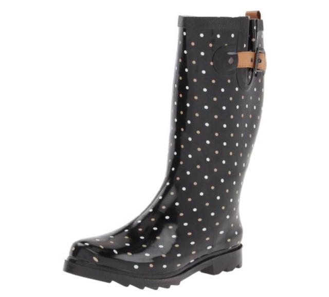 Chooka Black Polka Dot Rain Boots