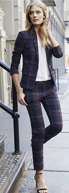 Express Columnist Berry Plaid Ankle Pant