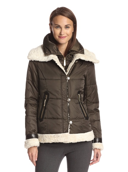 Quilted Bomber Jacket with Faux Fur