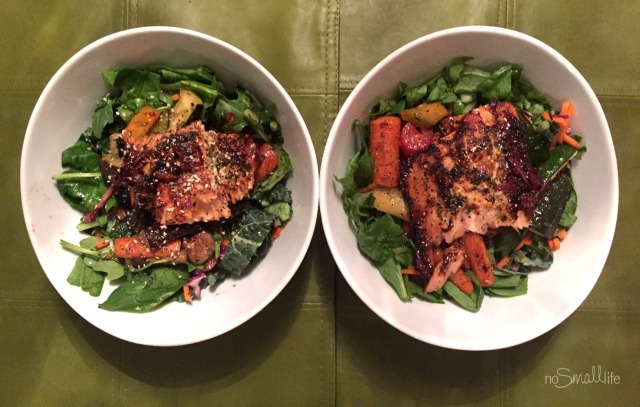 Healthy Allergy Free Glazed Salmon Salad with Roasted Veggies