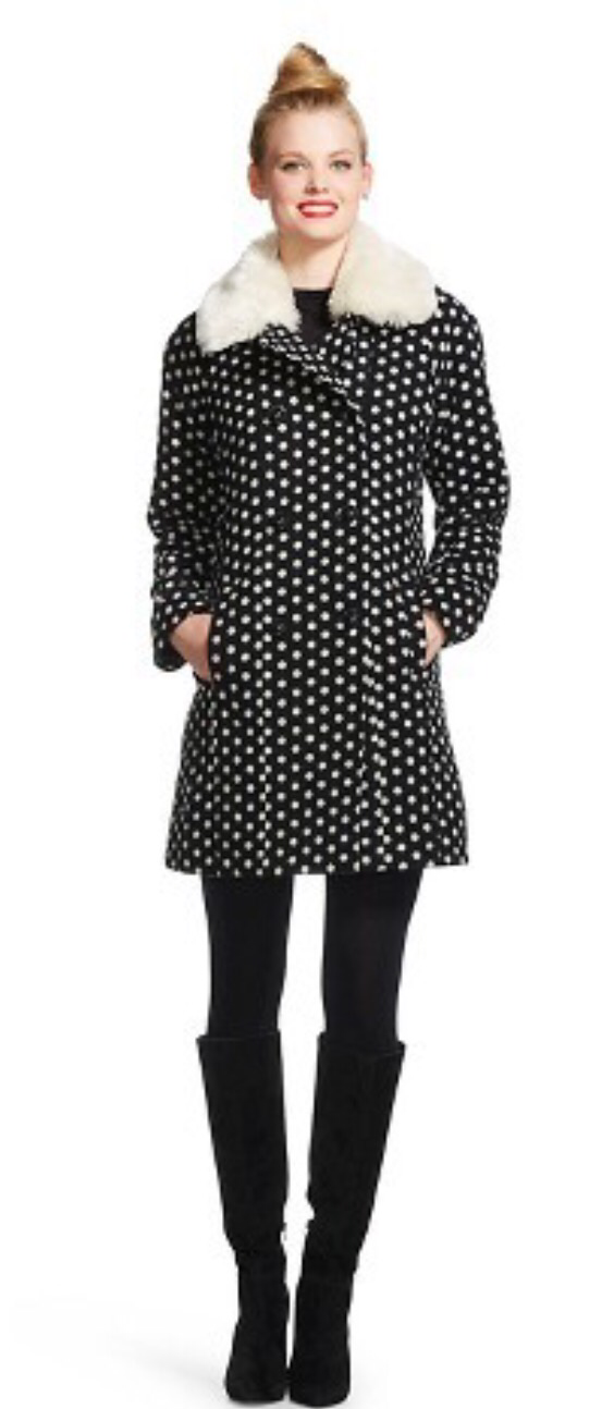 you are here. Target clothing women's clothing outerwear faux fur Women's Double Breasted Wool Blend Coat with Faux Fur Collar - Black Dot - Xhilaration