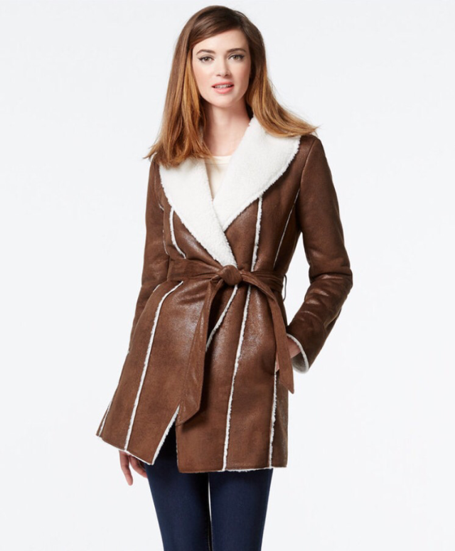 Brown Suede Wrap Coat