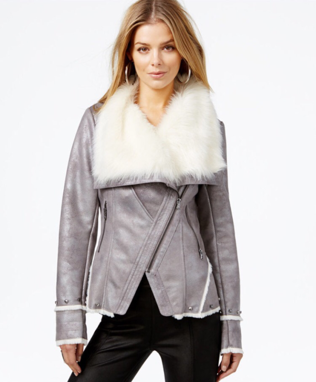 White Furt Collar Winter CoatG